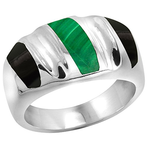 Sterling Silver Black Obsidian & Malachite Ring for Men Oval Concave Stripes Solid Back Handmade, size 10