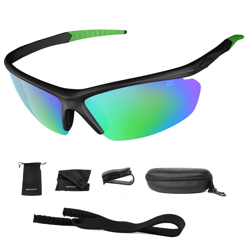 Polarized UV400 Sport Sunglasses Anti-Fog Ideal for Driving or Sports Activity (Green, Rainbow Greeen) by Gear District