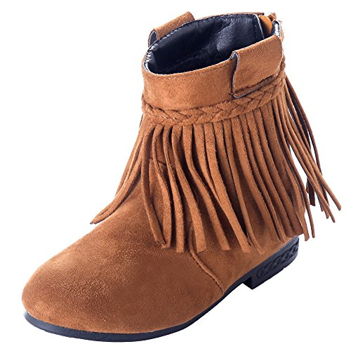 D.Lin Girls' Indy Fringe Suede Boots Girl Winter Boot (Little Kid) Brown Suede Fringe Boots
