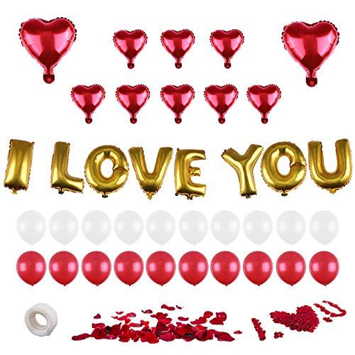 Valentine Decorations I LOVE YOU - Balloons Kit, Heart Foil Balloon Red - Valentines Day Decorations - Red Silk Rose Petals Wedding Flower Decoration