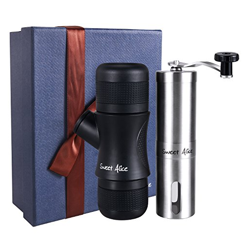 Portable Espresso Maker & Manual Coffee Grinder Gift Set HandHeld Pressure Coffee Machine for Home Office Travel Outdoor Afternoontea