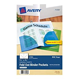 Avery Mini Assorted Binder Pockets for 5.5 x 8.5-Inches Binders, Pack of 3 (75308)