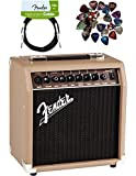 Fender Acoustasonic 15 Acoustic Guitar Amplifier - Brown and Wheat Bundle with Instrument Cable, 24 Picks, and Austin Bazaar Polishing Cloth