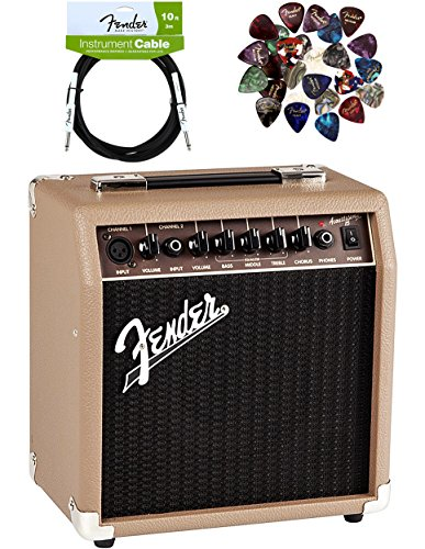 Fender Acoustasonic 15 Acoustic Guitar Amplifier - Brown and