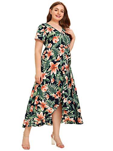 (Milumia Women Plus Size Wrap V Neck Floral Boho Summer Maxi Party Dress Green 0X)