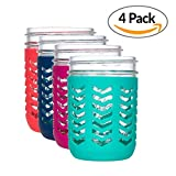 kerr pint mason jars - JarJackets Silicone Mason Jar Protector Sleeve - Fits Ball, Kerr 16oz (1 pint) WIDE-Mouth Jars | Package of 4 (Multicolor) …