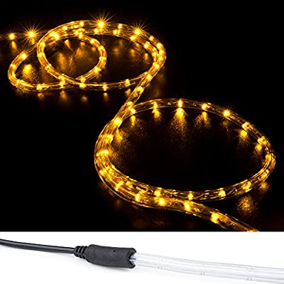 WYZworks Orange PRE-ASSEMBLED LED Rope Lights - 2 Wire Christmas Holiday Decoration Indoor / Outdoor Lighting