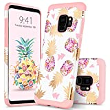 Samsung S9 Case Colorful Pineapple GUAGUA Slim Fit Hybrid Hard PC Soft Rubber Cover Anti-Scratch Shockproof Protective Phone Case for Samsung Galaxy S9 Case for Girls&Women Rose Gold White
