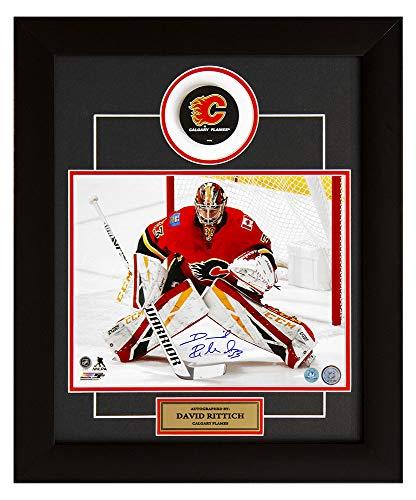 (AJ Sports World David Rittich Calgary Flames Autographed Hockey Goalie 20x24 Puck)