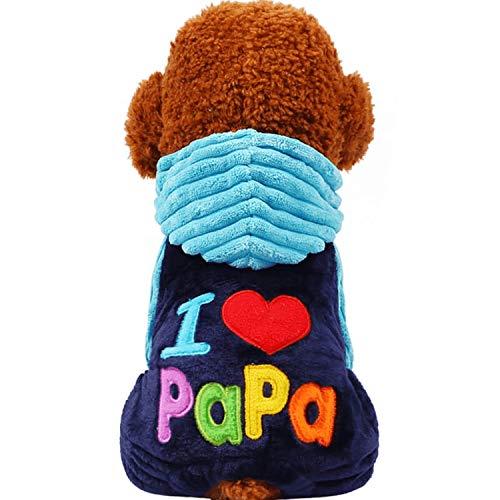 Fanatical-Night Fashion I Love papa and Mama Winter Pet Dog Clothes Clothing for Pet Dog Coats Jackets,I Love papa Coats,XXS -