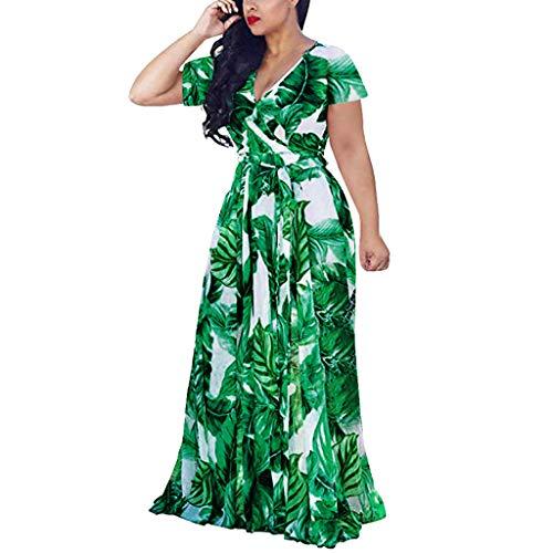FAPIZI Plus Size Short Sleeves Wrap V Neck Belted Empire Waist Asymmetrical High Low Bohemian Party Maxi Dress