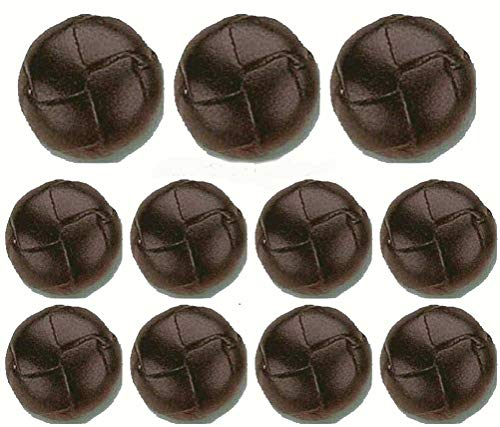 - Brown Real Leather Buttons Set- 11 Pieces
