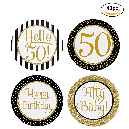 Glitter Hello 50 Cupcake Topper Packs-Happy 50th Birthday Cake Topper-Fifty Baby Cupcake Topper for 50 Birthday Party