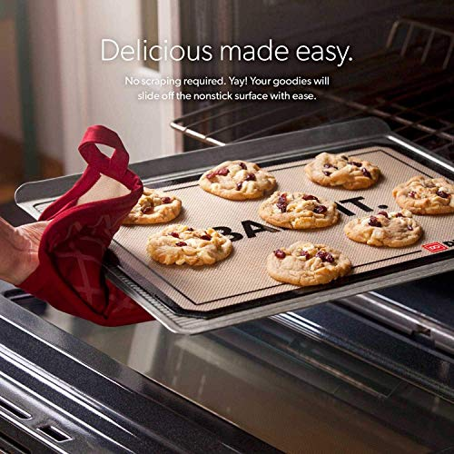 "DI ORO - Pro Silicone Baking Mat - Nonstick Silicone Sheets - 480° Heat Resistant - 16 1/2""× 11 5/8"