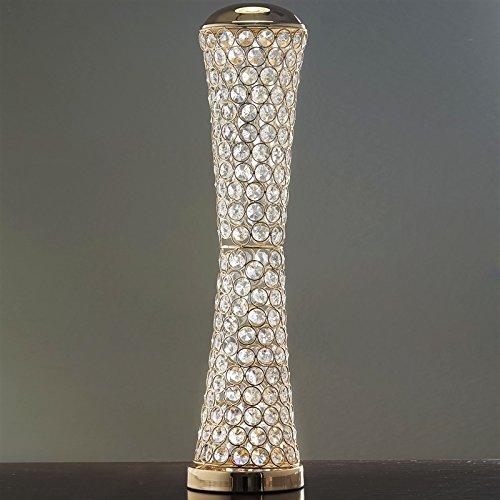 Elegant Tall Hurricane Beaded Crystal Vase Wedding Centerpiece - 24 Inch Tall - Gold (Runners Vase)