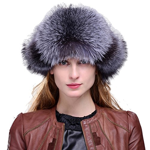 Women's Silver Indigo Fox Fur & Leather Russian Ushanka Hat with Fox Pom Poms Natural Color by URSFUR