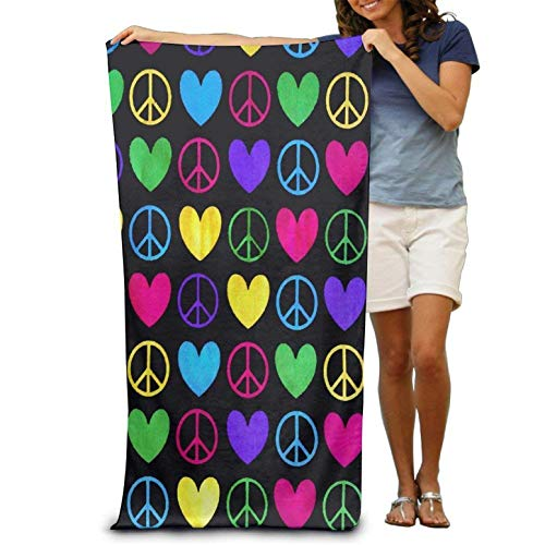 (Microfiber Sand Free Beach Towel Blanket, Absorbent Lightweight Thin Towels, Colorful Peace Signs and Hearts Adults Cotton Beach Towel 31 X 51-Inch)
