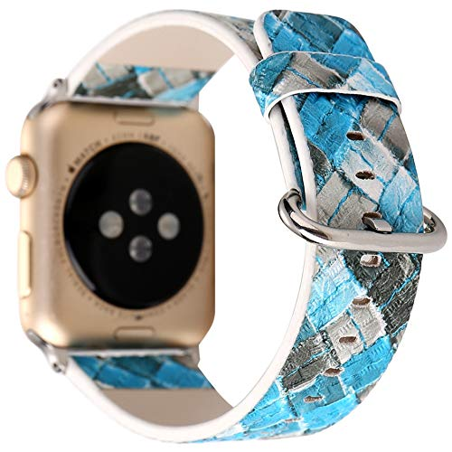 Compatible with Apple Watch Band 38mm 40mm, [Coloured Lattice Woven Pattern] Soft Leather Watch Strap Replacement Wristband Bracelet for Apple Watch Series 4 (40mm) Series 3 Series 2 Series 1 (38mm)