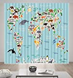 LB House Decor Fun Kids Window Curtains Drapes for Boys Bedroom, Colorful World Map of Wild Animals Elephant Tiger Deer, 80x95 Inches (2 Panels Size)