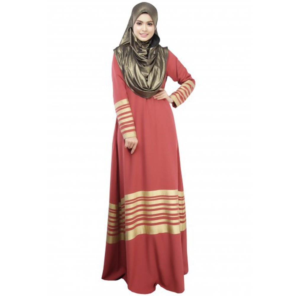 LSERVER Womens Casual Middle East Moslem Traditional Long Sleeve Abaya Gold Stripe Cotton Dress Full Length Orange Red M