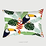 Custom Satin Pillowcase Protector Tropical Jungle Seamless Pattern With Toucan Bird, Heliconia And Plumeria Flowers And Palm Leaves, Flat Design, Vector Illustration Background Pillow Case Cove