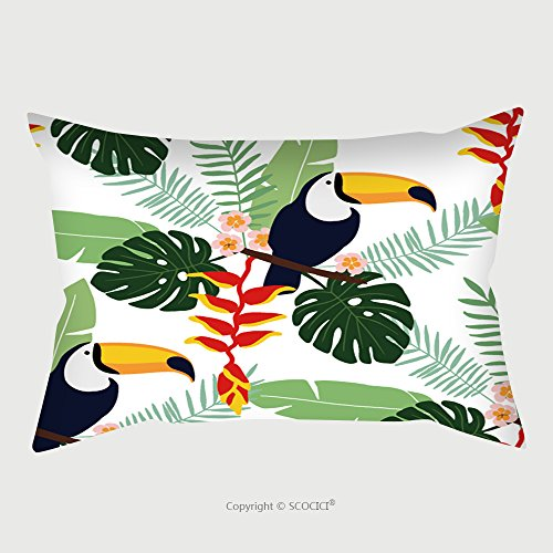 Custom Satin Pillowcase Protector Tropical Jungle Seamless Pattern With Toucan Bird, Heliconia And Plumeria Flowers And Palm Leaves, Flat Design, Vector Illustration Background Pillow Case Cove by chaoran
