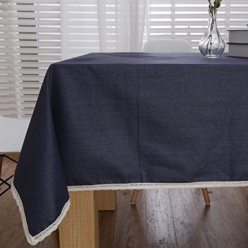 "ColorBird Solid Cotton Linen Tablecloth Waterproof Macrame Lace Table Cover for Kitchen Dinning Tabletop Decoration (Rectangle/Oblong, 55"" x 70"", Navy Blue)"