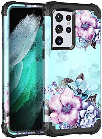 Casetego Compatible with Galaxy S21 Ultra 5G Case,Floral Three Layer Heavy Duty Sturdy Shockproof Full Body Protective Cover Case for Samsung Galaxy S21 Ultra 5G 6.8 inch,Blue Flower