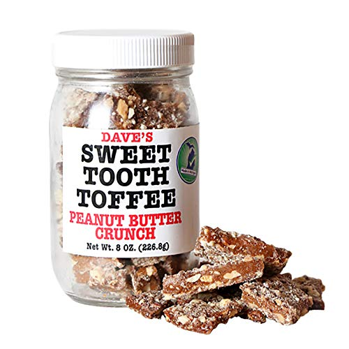 Dave's Sweet Tooth Toffee, Peanut Butter Crunch Flavor with Real Butter, Real Sugar, and Hand-sliced Almonds, Handmade, Homemade, Naturally Gluten-Free, Ships with Cool Packs, 8.0 oz Resealable Jar