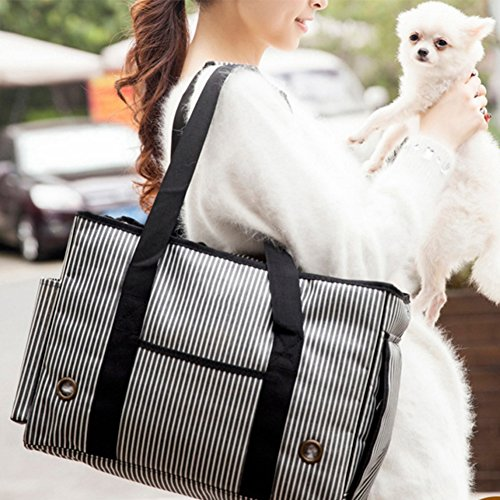 BUYITNOW Portable Strip Pet Carrier Purse Travel Soft Sided Oxford Tote Shoulder Hand Bag for Small Medium Large Dogs and Cats by BUYITNOW (Image #5)