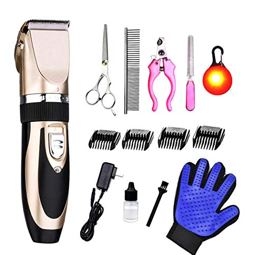 PSALMS Professional Dog Grooming Clippers Kit - Cordless Rechargeable Clippers,Low Noise & Suitable Horse Cat Dog Hair Clippers Shaver Tools (Gold 1)