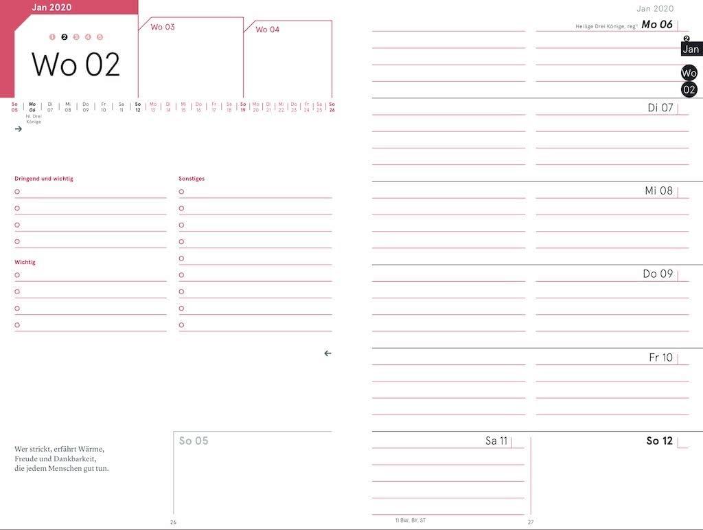 das Original von Martina Behm mit weekview Zeitplansystem Strickplaner 2020