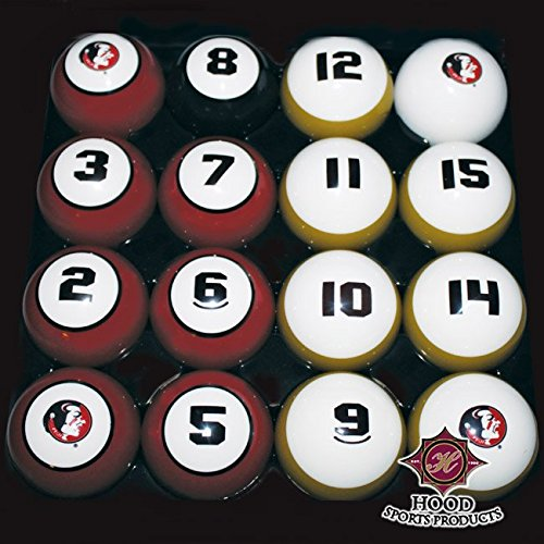 HOOD SPORTS PRODUCTS 11950-FSU FLORIDA STATE BILLIARD BALL SET - Tech Billiard Ball Set