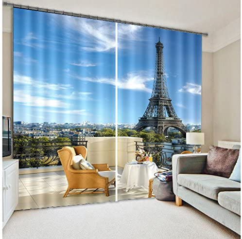 Newrara 3D Tower Scene Versatile Energy Saving Curtain 2 Panels for Living Room Bedroom,Free Hook Included 118W106 L, Blue