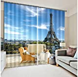 Newrara 3D Tower Scene Versatile Energy Saving Curtain 2 Panels For Living Room&Bedroom,Free Hook Included (104W63″L, Blue)