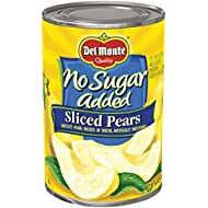 Del Monte Canned Bartlett Sliced Pears in Water, No Sugar Added, 14.5-Ounce Cans (Pack of 12)