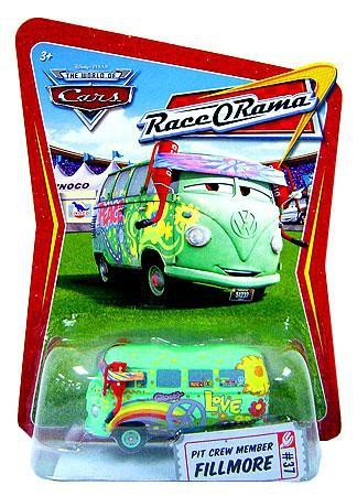 - Disney / Pixar CARS Movie 1:55 Die Cast Race-O-Rama Package Pit Crew Member Fillmore
