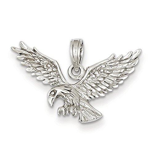 Or blanc 14 carats-Pendentif aigle débarquement Dimensions :  17 cm x 27 mm-JewelryWeb