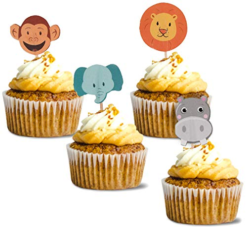 (Zoo Cupcake Toppers - 200-Pack Animal Cupcake Decoration, Safari Jungle Themed Party Supplies, Monkey, Elephant, Lion, Hippo Cake Picks, Dessert, Sandwich Decoration, 1.2 x 3 Inches)