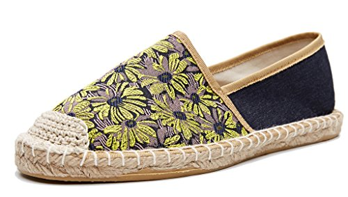 Daisy Bridal Shoes - U-lite Daisy Jacquard Foral Espadrilles Women Shoes Slip-On Loafer Sneaker Yellow Purple 11