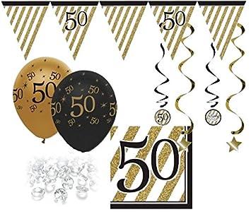 29 Teile Set Zum 50 Geburtstag Jubiläum Oder Goldene Hochzeit Party Deko In Schwarz Gold