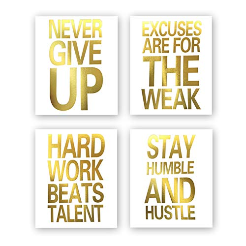 Sanrx Inspirational Quotes Never Give Up Gold Foil Print, Motivational Word Cardstock Art Painting Minimalist Lettering Home Wall Art Poster Decor (8 X 10 inch, Set of 4, Unframed) (Gold Foil Words)