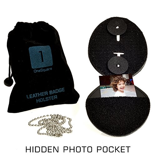 Badge Shield Holder with Leather Wrapped Heavy Duty Steel Belt Clip, Stainless Steel Necklace and Concealed Photo Pocket with Archangel Michael Wings in Thick Leather Cow Hide. LAW ENFORCEMENT GIFT Photo #4