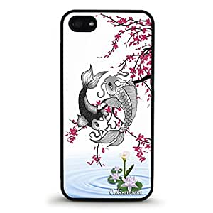Koi Fish Lotus Flower And Cherry Blossoms Rubber Case For iPhone 5-5S - Made in USA [Non-Retail Packaging] by runtopwell