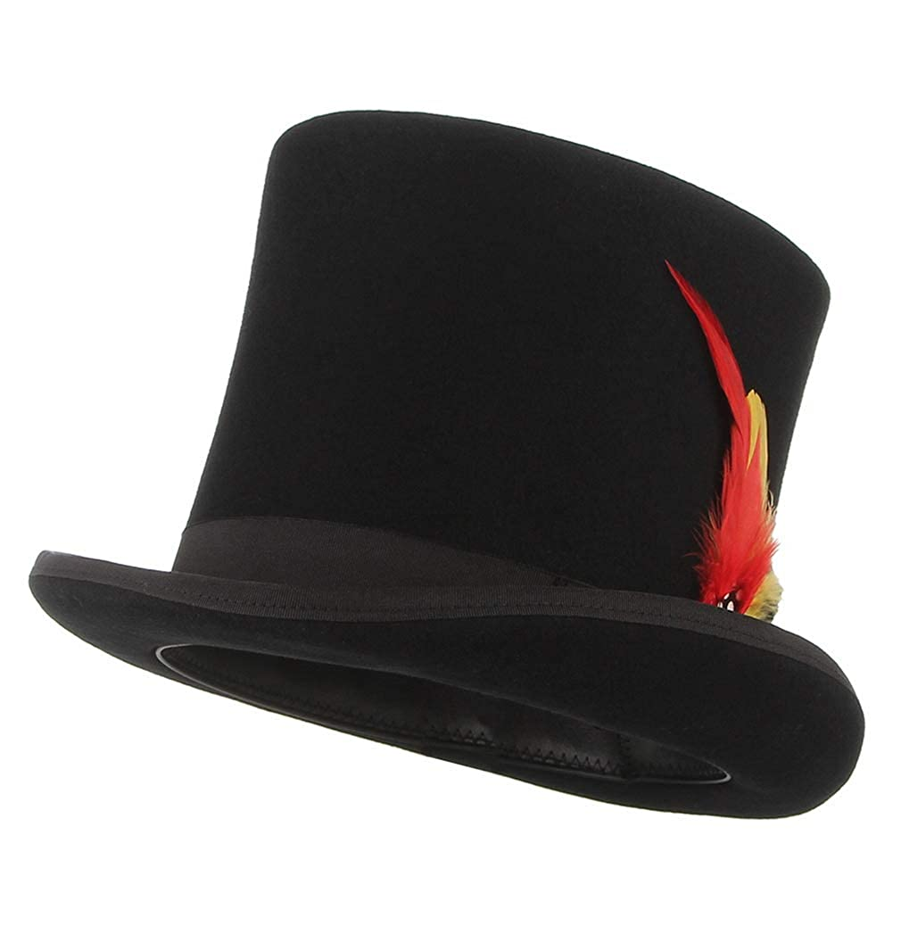 Gemvie Men's 100% Wool Top Hat Satin Lined Party Event Top Hat Wool Topper