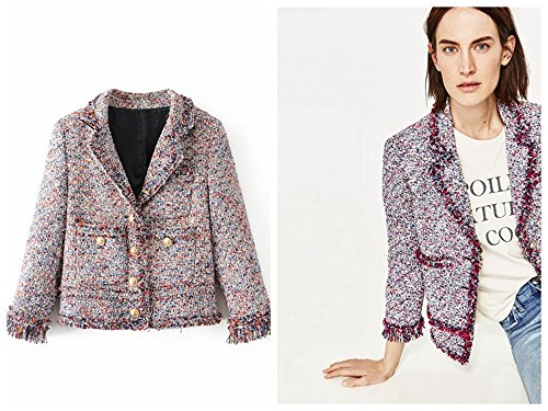 Multi Tweed Jacket (Women Multi-color Plaid Check Tassels Tweed Long Sleeve Blazer Jacket Coat (Asian L))
