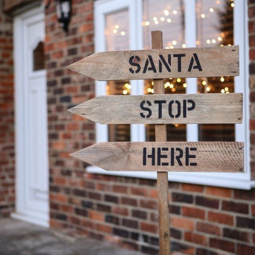 OUTDOOR CHRISTMAS DECORATION   Santa Stop Here Sign   Handmade From Vintage  Reclaimed Wood   Made