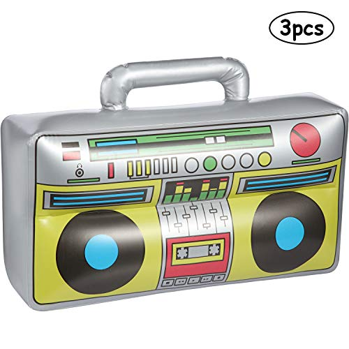 3 Pack Inflatable Boombox 16.5 Inches Inflatable Boom Box 80s 90s Party Decorations for Rappers Hip Hop B-Boys Costume Accessory Party Supplies -