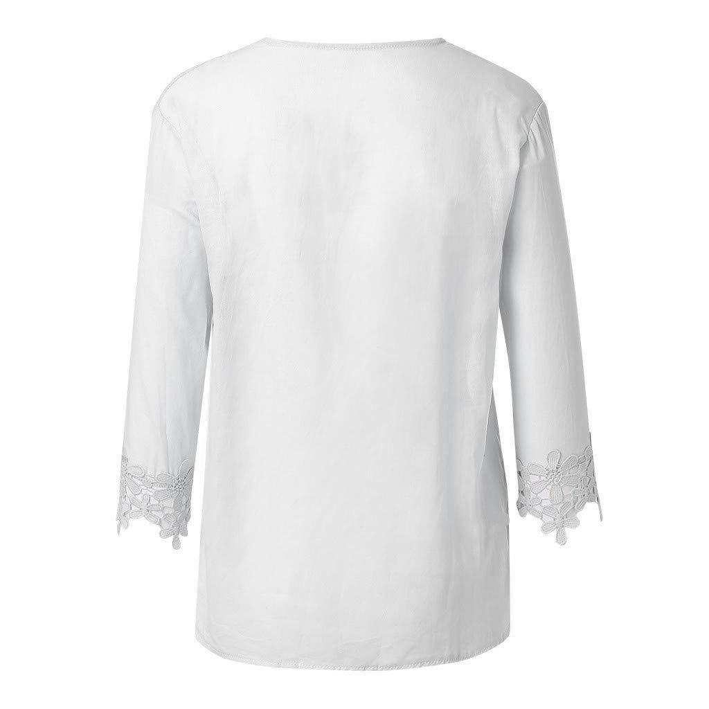 FNKDOR Chemisier Femme Hauts en Dentelle Unie Mode Femme Col V Casual Mode Tunique Haut Top Shirt /à Manches Courtes