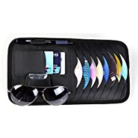 Car Sun Visor Sunshade CD DVD VCD Disc Sleeve Wallet PU Leather Storage Case Holder with Glasses and Cards Organizer Clips Black Color